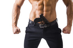 Athletic Topless Man with Handgun, Isolated on White Stock Photo