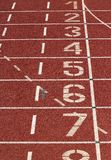 Athletic track. Finish line on an athletic track royalty free stock photos