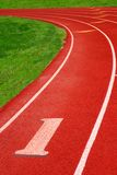 Athletic track. Artificial surface 400m athletic track with clean fresh markings stock image