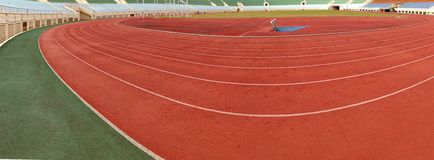 Athletic Track and Field Markings Panorama Stock Image