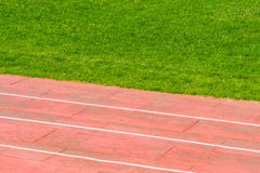 Athletic track and footbal field Royalty Free Stock Photography