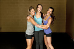 Athletic Trainers in Gym. A set of three happy brunette atheltic females posing in a gym together royalty free stock photos