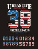 Athletic United States. Set number Textured Flag American, T-shirt graphic, vector image Royalty Free Stock Photography