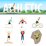 Athletic vector set with different sportsmen: cyclist, rock clim Stock Photo