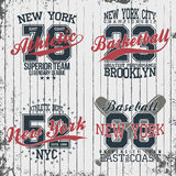 Athletic vintage t-shirt graphic designs. Set of print stamps, athletic, baseball, basketball. New York typography emblems. Vector vector illustration