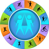 Athletic Wheel. A set of athlete icons - wheel style Stock Photos