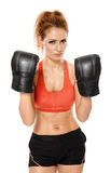 Athletic woman with boxing gloves Stock Photos