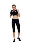 Athletic woman boxing, isolated on white Royalty Free Stock Photo