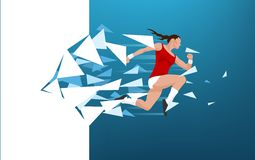 Athletic woman breaking through wall Royalty Free Stock Photos