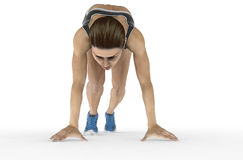 Athletic woman crouched starting position ready to start running Stock Images