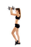 Athletic woman doing dumbbells Royalty Free Stock Image