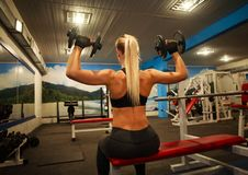Athletic woman doing exercises in gym lifting dumbbells. Athletic woman doing exercises in the gym lifting dumbbells, sport training bodybuilding Royalty Free Stock Photography
