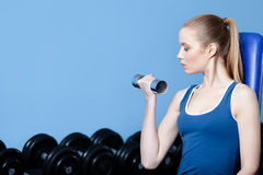 Athletic woman with dumbbells Royalty Free Stock Photography