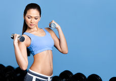 Athletic woman exercises with dumbbells Royalty Free Stock Photo
