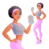 Athletic woman exercising with dumbbell. Isolated vector illustration. Pretty athletic African woman exercising with dumbbell. Vector illustration isolated on royalty free illustration