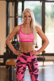 Athletic Woman Flexing Muscles In Gym Royalty Free Stock Image