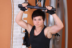 Athletic woman in gym Stock Image