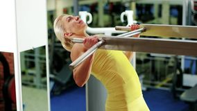 Athletic woman at the gym, girl performs a pulling up exercise, exercises on the horizontal bar, playing sports as a stock footage