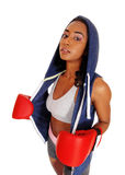 Athletic woman in hoody wearing boxing gloves. Royalty Free Stock Photography