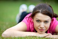 Athletic woman lying on the floor Stock Images