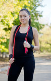 Athletic woman in park Stock Photos