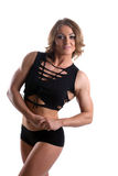 Athletic woman with perfect muscular body isolated Royalty Free Stock Photos
