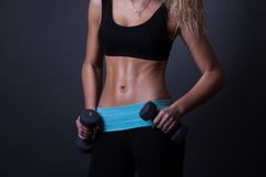 Athletic woman pumping up muscles with dumbbells. Royalty Free Stock Photos