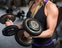 Athletic woman pumping up muscles with dumbbells Stock Image