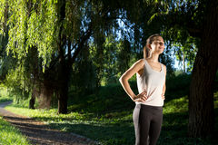 Athletic woman ready to run Royalty Free Stock Photography