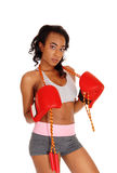 Athletic woman with rope, wearing boxing gloves. Royalty Free Stock Photos