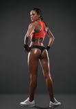 Athletic woman showing muscles of the back Stock Images