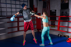 Athletic woman in sportswear and in boxing gloves training with royalty free stock photography