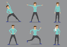 Athletic Woman in Tracksuit Exercising Vector Character Set. Set of six vector illustrations of athletic woman in sporty tracksuit doing workout  on grey Stock Image