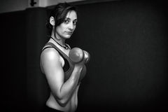 Athletic woman with weights at the gym Stock Photos
