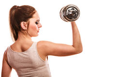 Athletic woman working with heavy dumbbells Stock Images