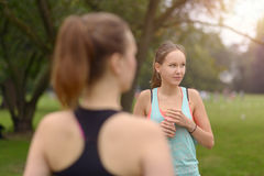 Athletic Women Drinking Water After an Exercise Royalty Free Stock Photography