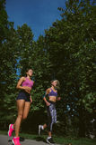 Athletic women exercising by jogging in nature stock photo