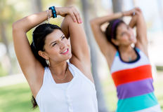 Athletic women stretching Royalty Free Stock Photography