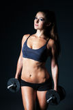 Athletic young beautifull brunette woman doing a fitness workout Royalty Free Stock Images