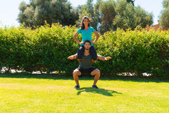 Athletic young couple doing fitness workout Stock Image