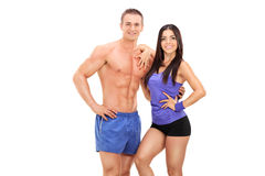 An athletic young couple posing together Stock Image