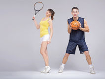 Athletic couple during the training. Athletic young couple during the training Royalty Free Stock Photo