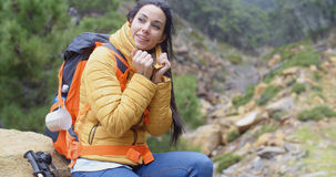 Athletic young female backpacker Stock Image