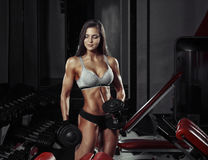Athletic young girl doing a fitness workout with dumbbell Stock Photo