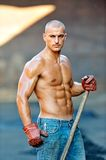 Athletic young man. Working outdoor stock image