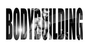 Athletic young man doing exercises with barbell in gym. Handsome muscular bodybuilder guy is working out. Monochrome image. Motiva. Tion sign Royalty Free Stock Image
