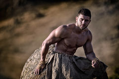 Athletic young man outdoor - warrior Royalty Free Stock Images