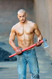Athletic young man outdoor working Stock Photos