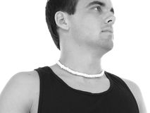 Athletic Young Man Profile in Black and White Stock Images