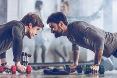 Athletic young sportsmen doing push ups with dumbbells at the gym Royalty Free Stock Photos